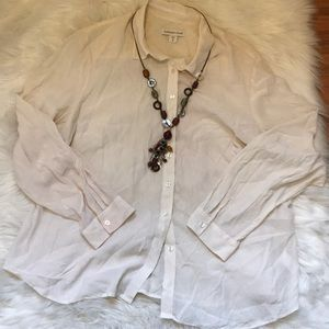 Coldwater Creek White Button Up Blouse